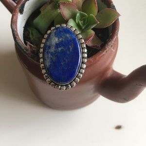 Huge sterling silver lapis ring size 10.5